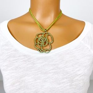 green floral rhinestone pendant necklace jewelry